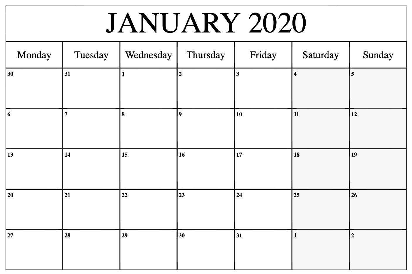 Free January 2020 Calendar Template