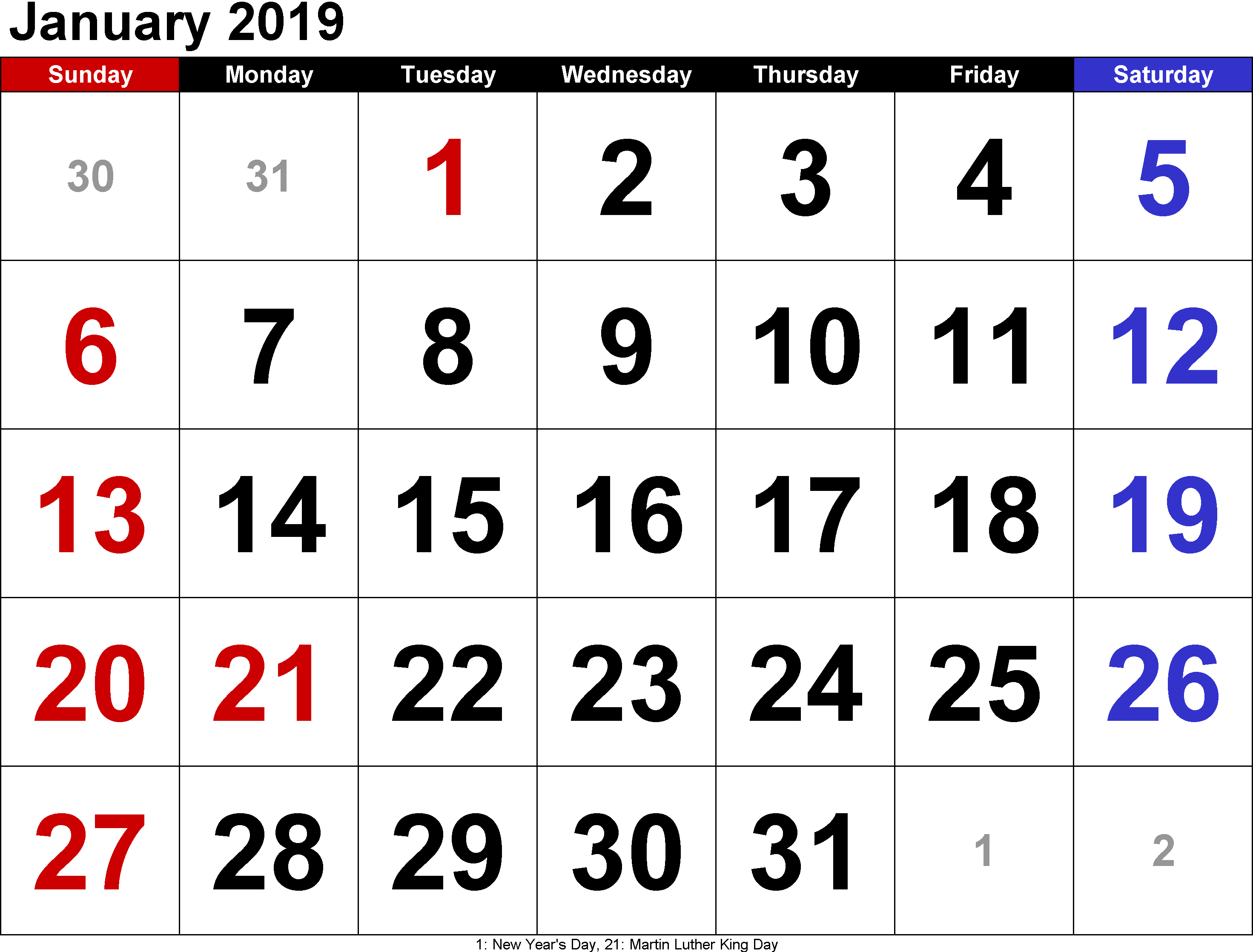 Free January Calendar 2019