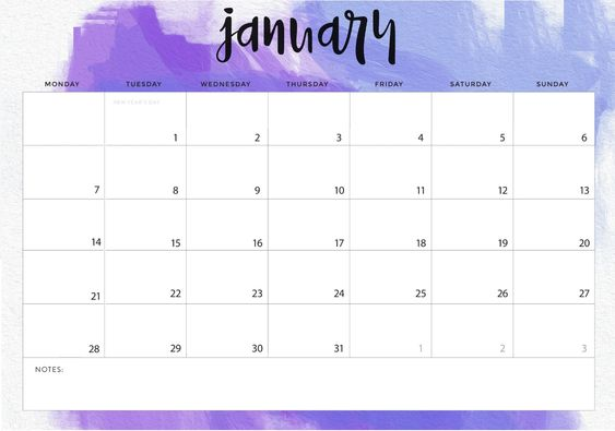 Free Printable January Calendar 2019