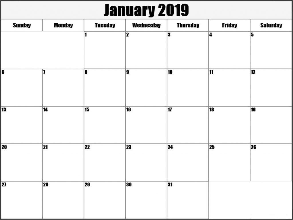 January 2019 Calendar Blank Template