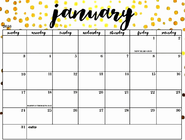 January 2019 Calendar PDF Printable Template Free