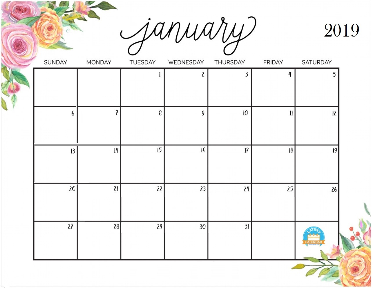 January 2019 Calendar Flower Images