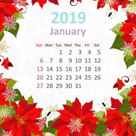 January 2019 Calendar Flowers