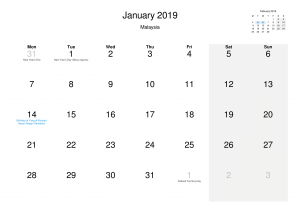 January 2019 Calendar Holidays