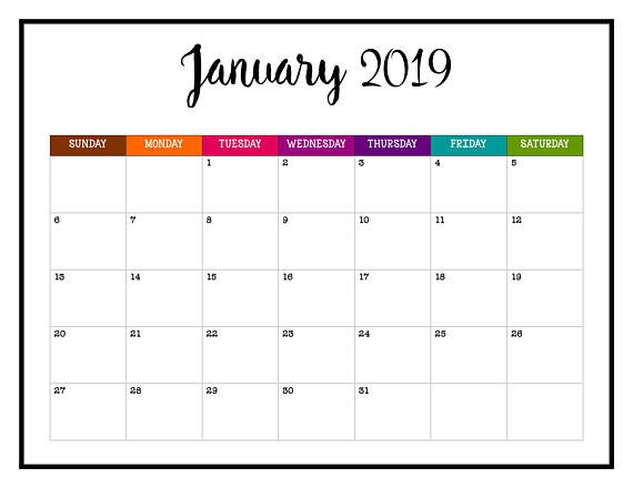 Free Cute Printable Calendars 2019 January