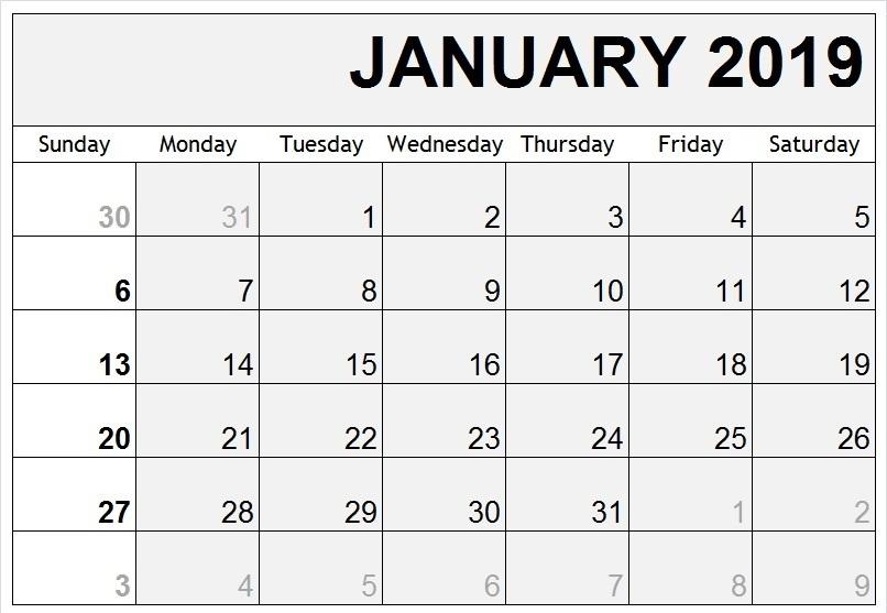 January Calendar 2019 Free Printable