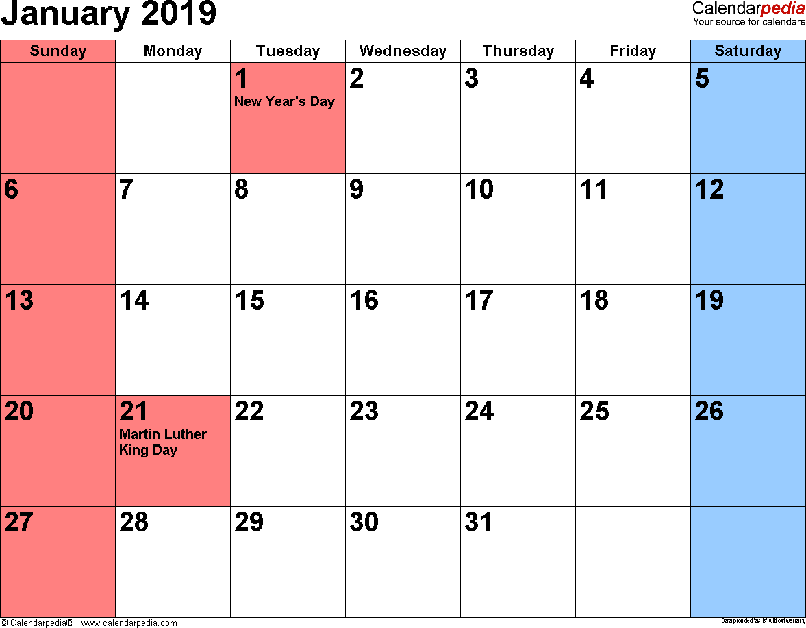 January 2019 Calendar Monthly Template