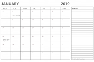 January 2019 Calendar With Holidays