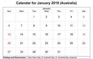 January2019 Calendar With Holidays Australia