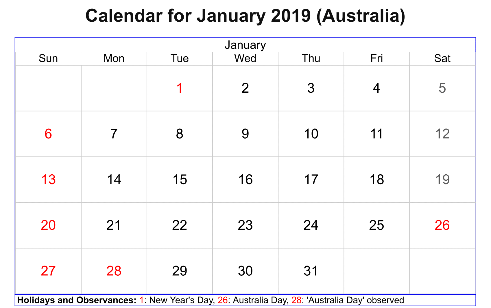 January 2019 Calendar With Holidays Australia