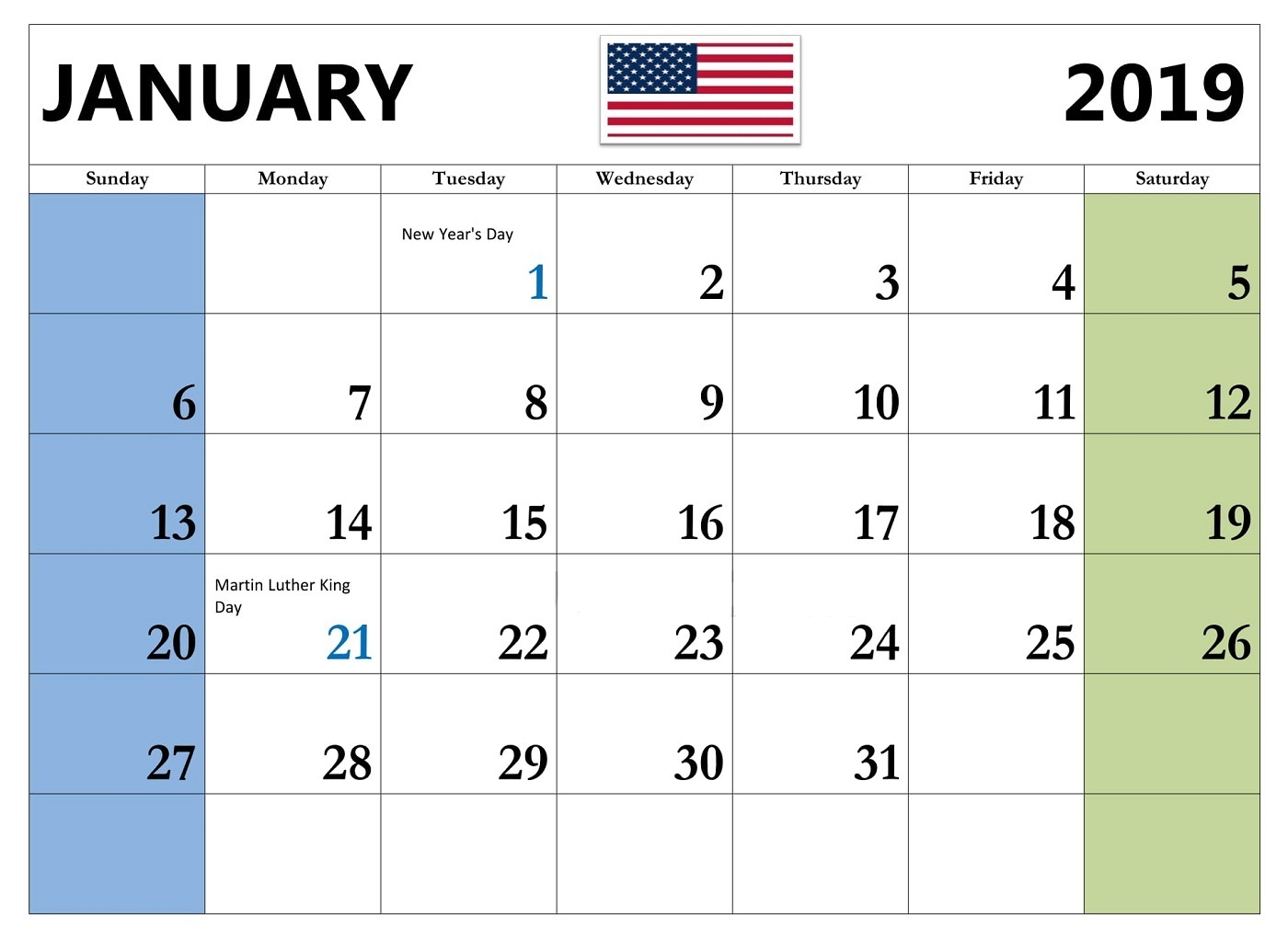 January 2019 Calendar with Holidays USA