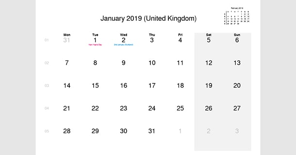 January 2019 Calendar with UK Holidays