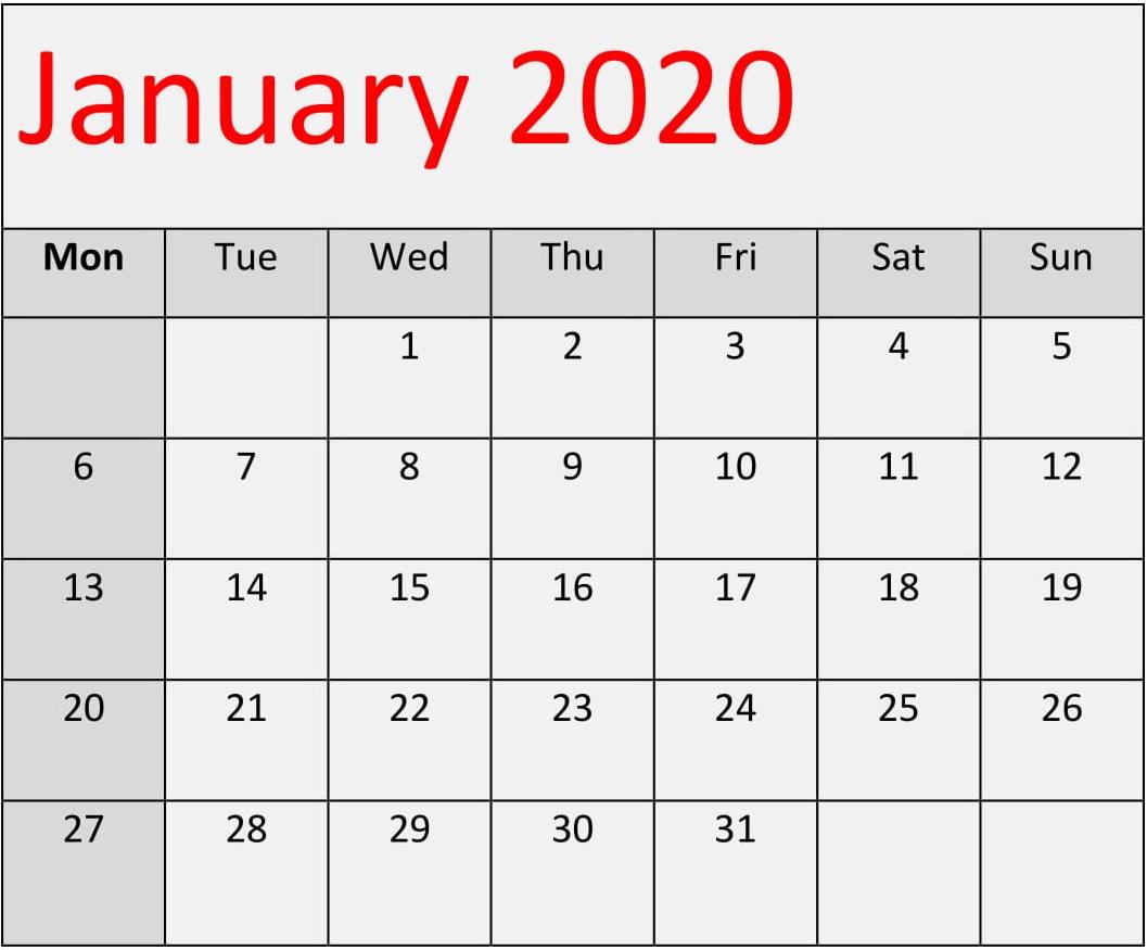 January 2020 Calendar Template Excel