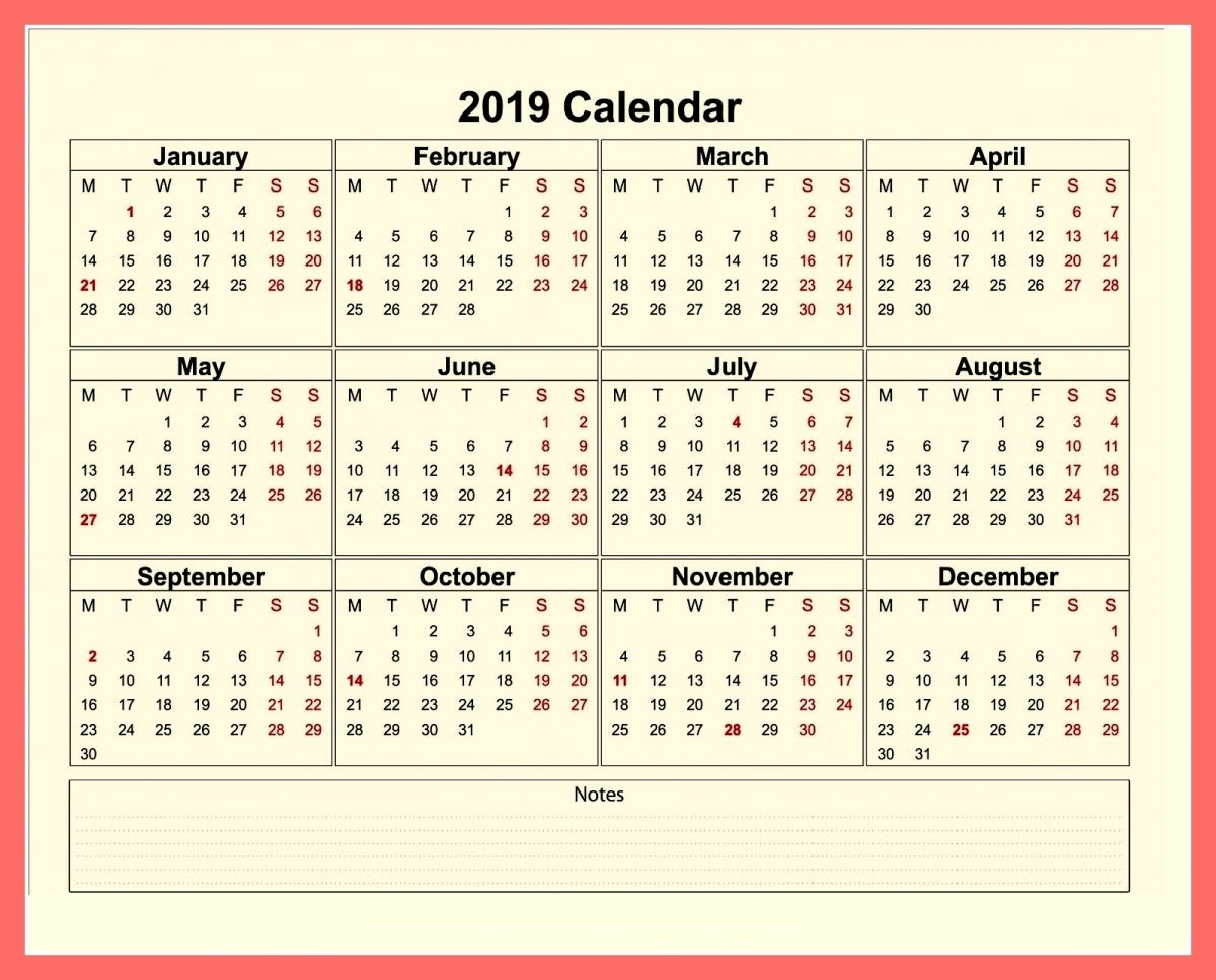 Printable 2019 Calendar by Month