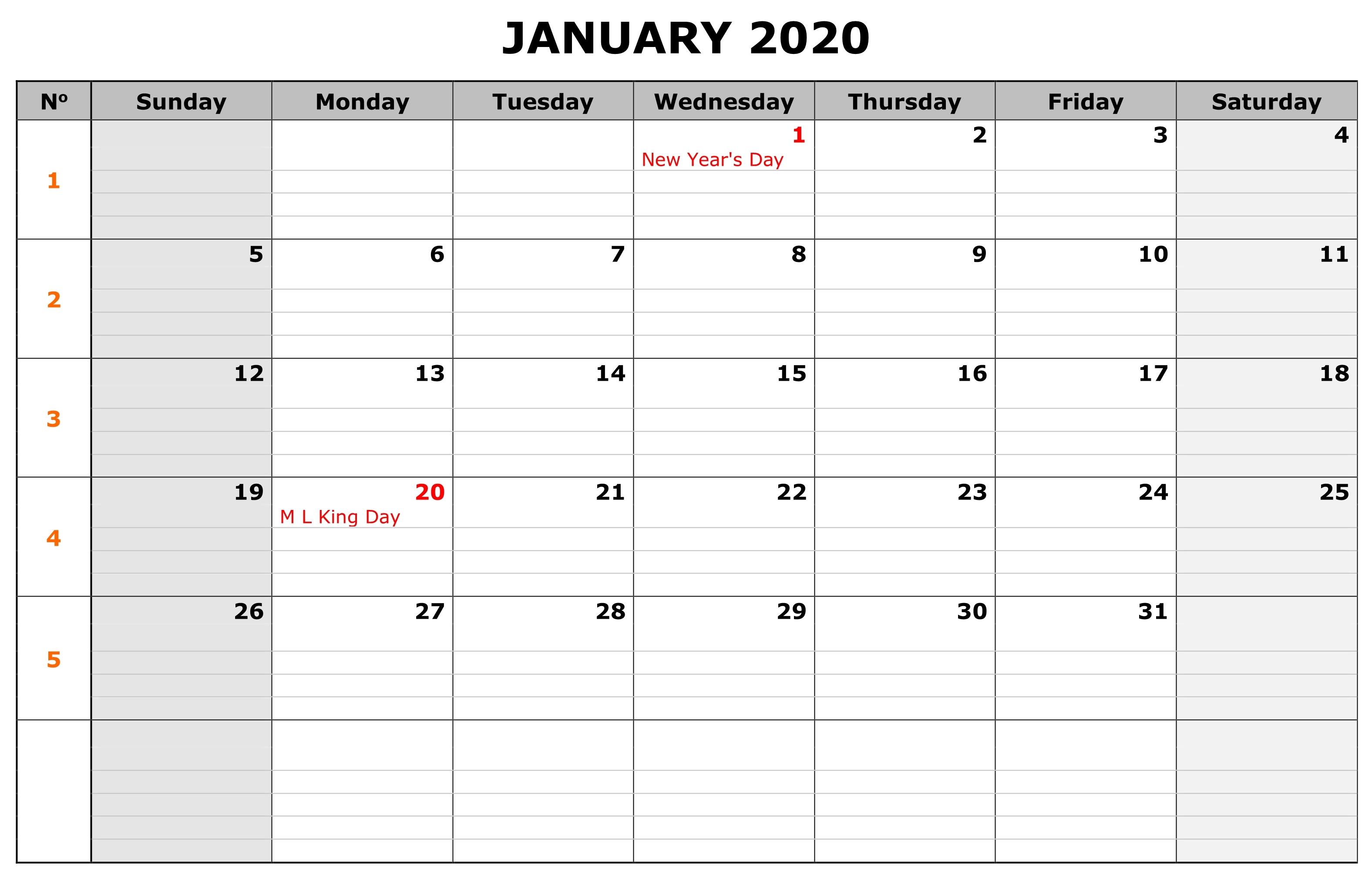 Printable January Calendar 2020 with Holidays