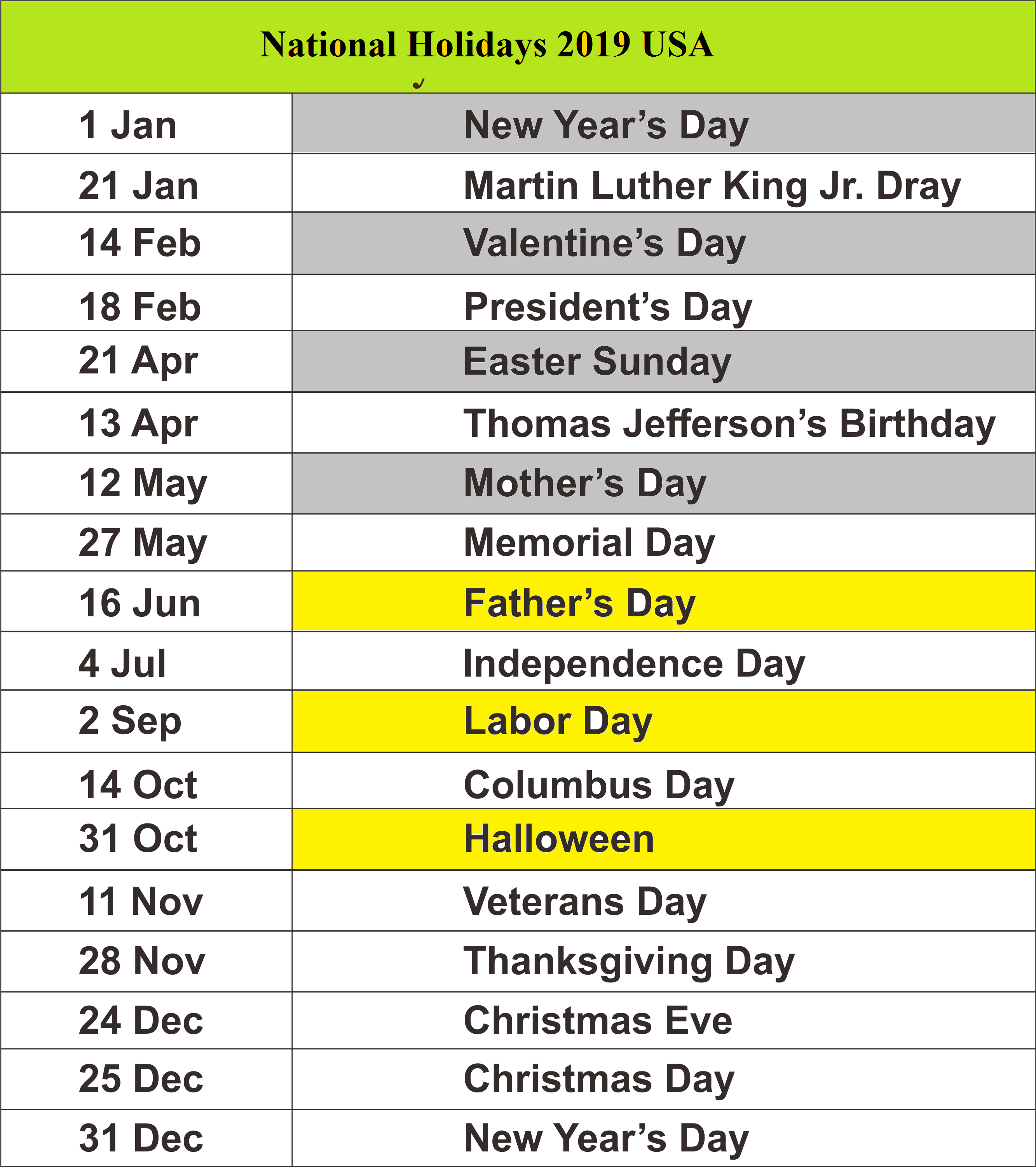 2019 public holiday