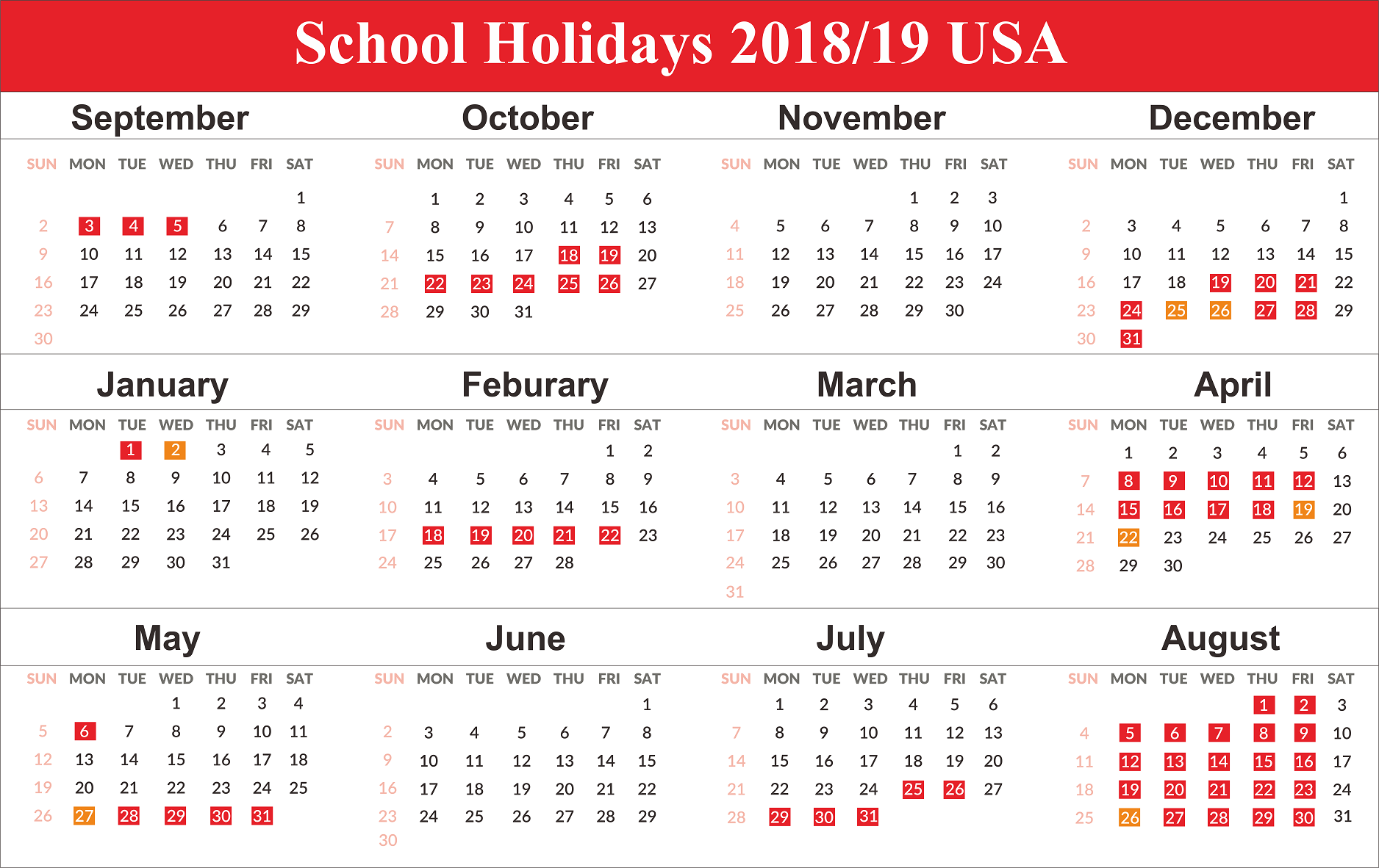School Holidays 2019 for USA