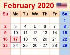 USA Holidays Calendar February 2020
