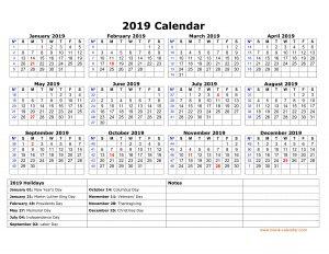 United State Holidays 2019