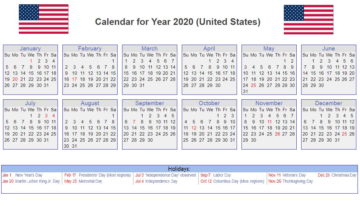 United State Holidays 2020