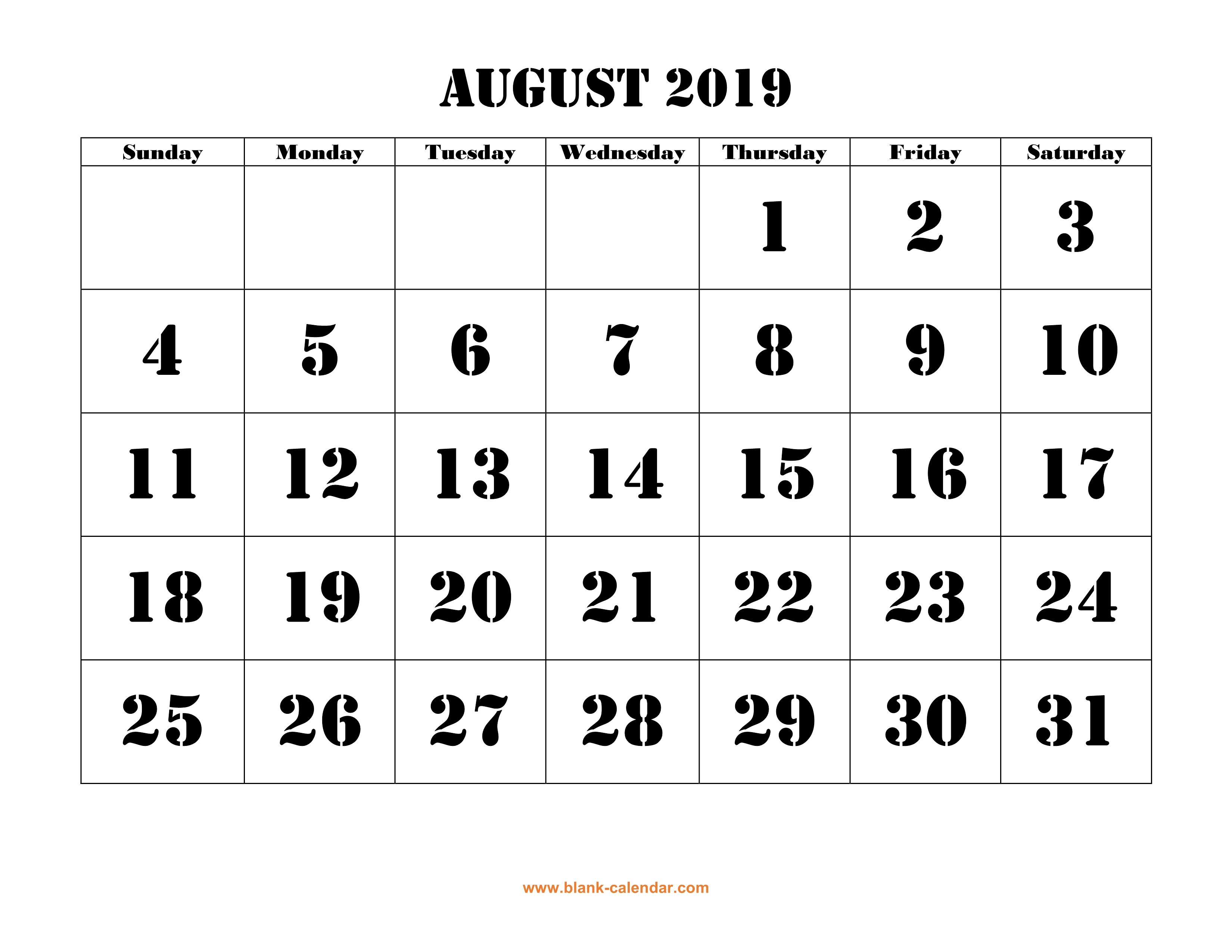 2019 August Calendar Printable