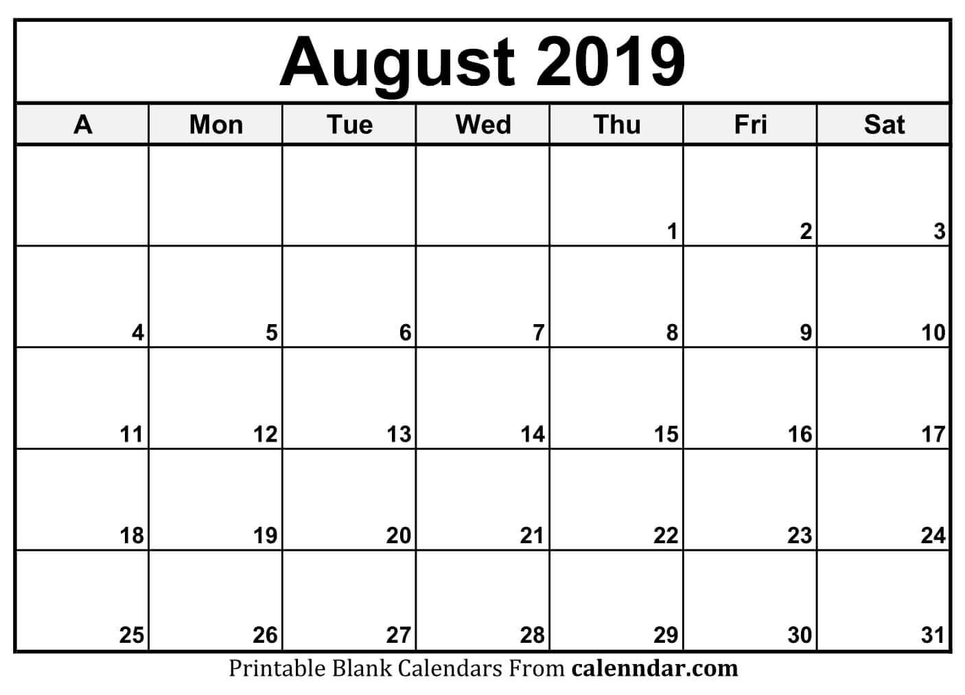 2019 August Printable Calendar