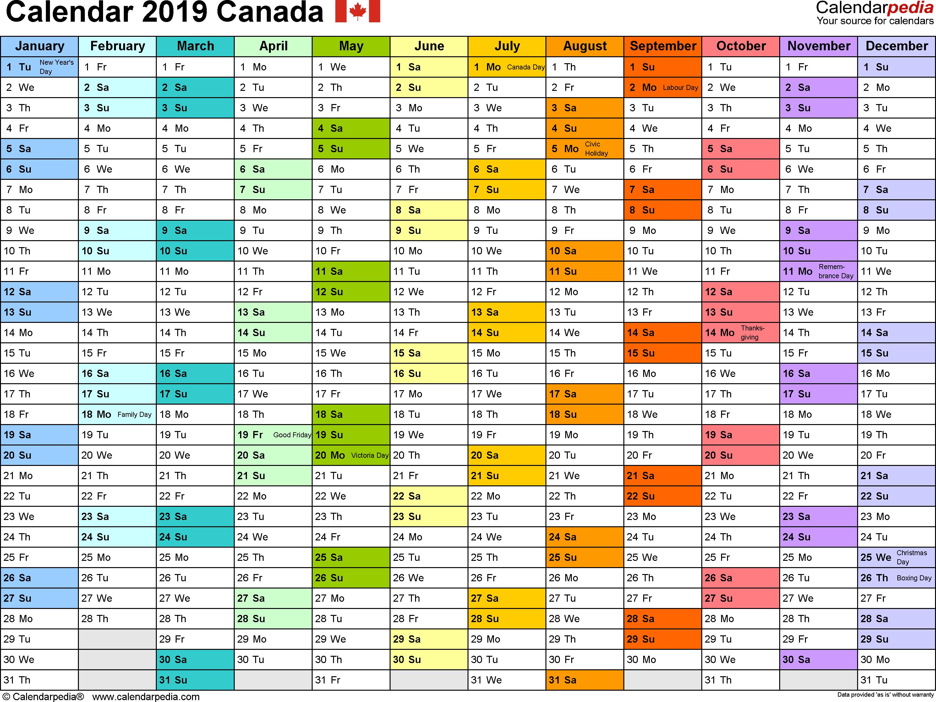 2019 Calendar Canada Printable Template