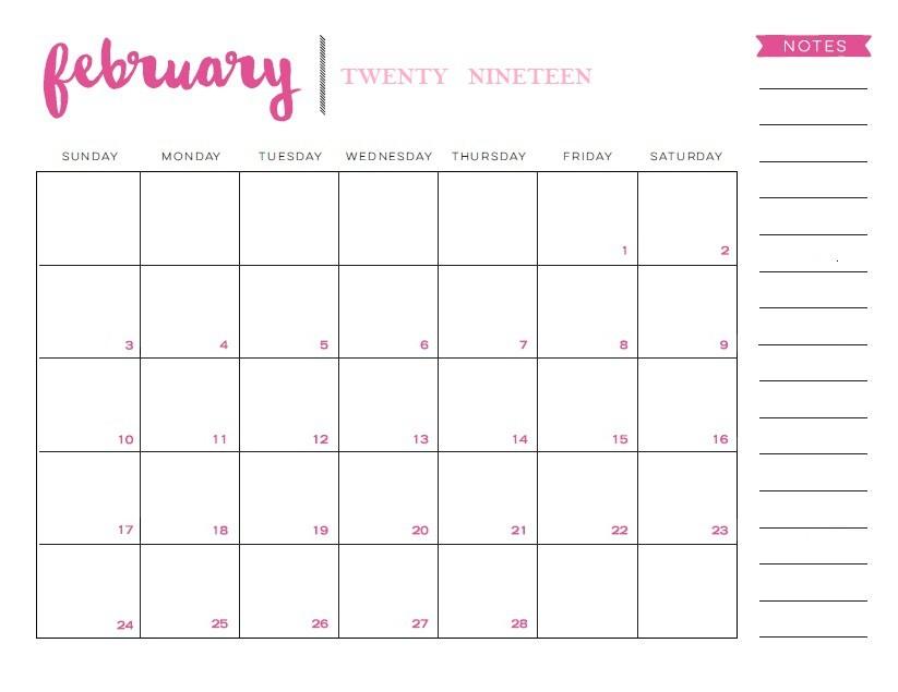2019 Calendar February USA