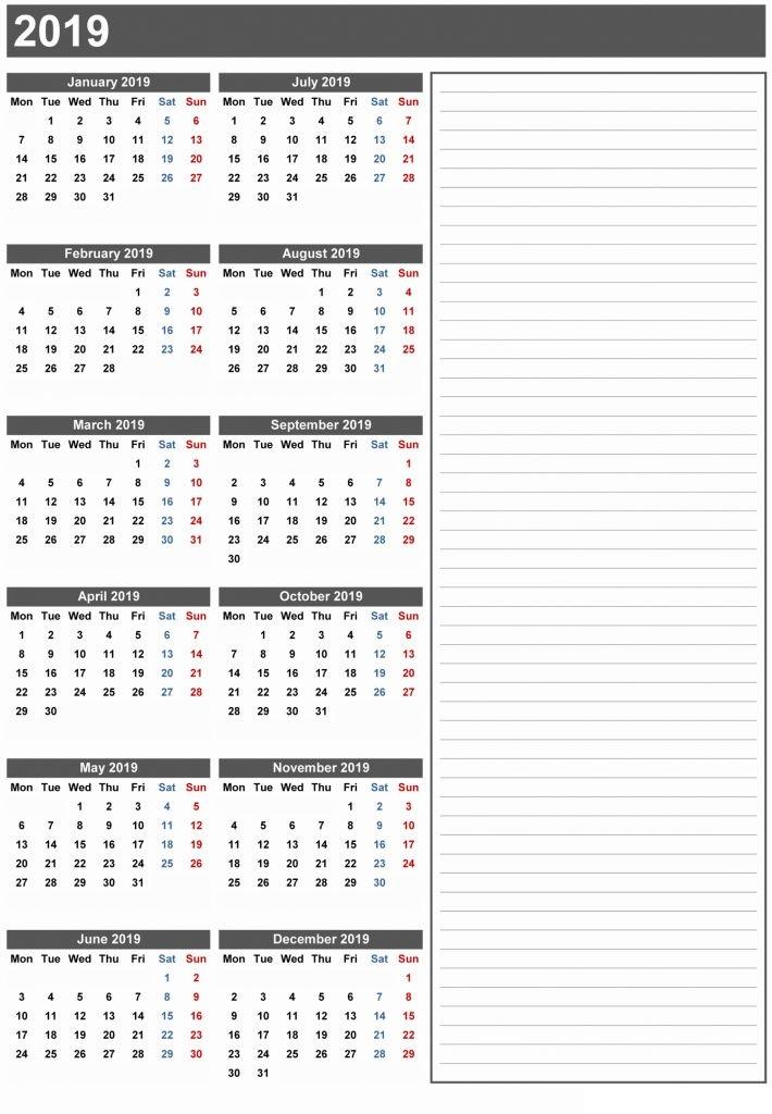 2019 Calendar Printable One Page