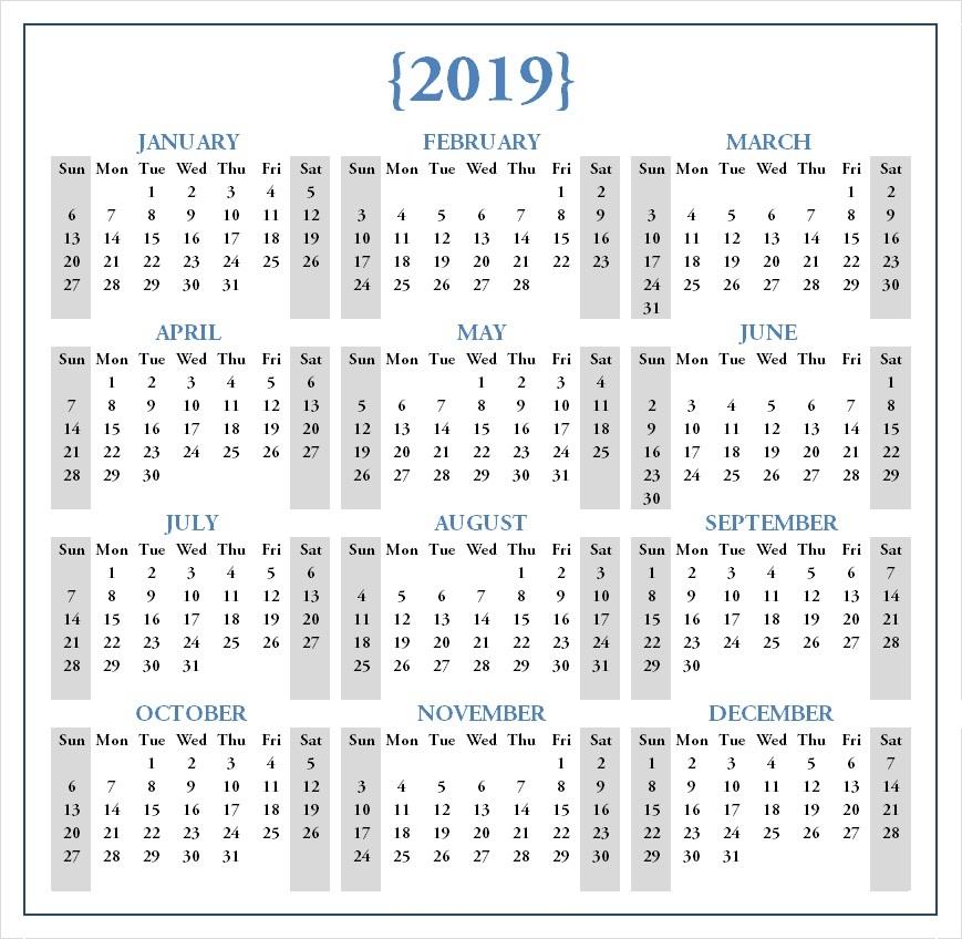 2019 Calendar Printable Pdf