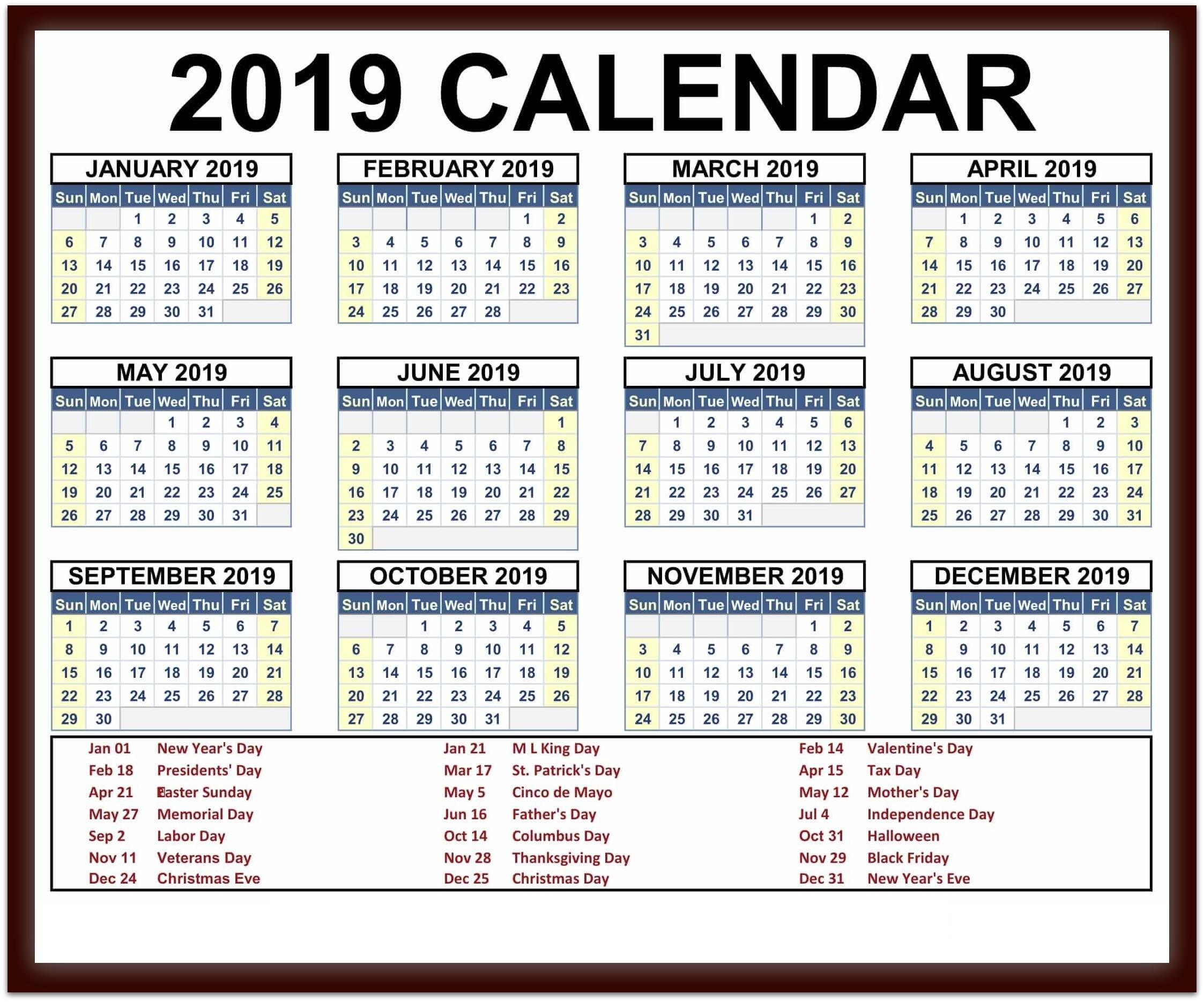 2019 Calendar Printable Word