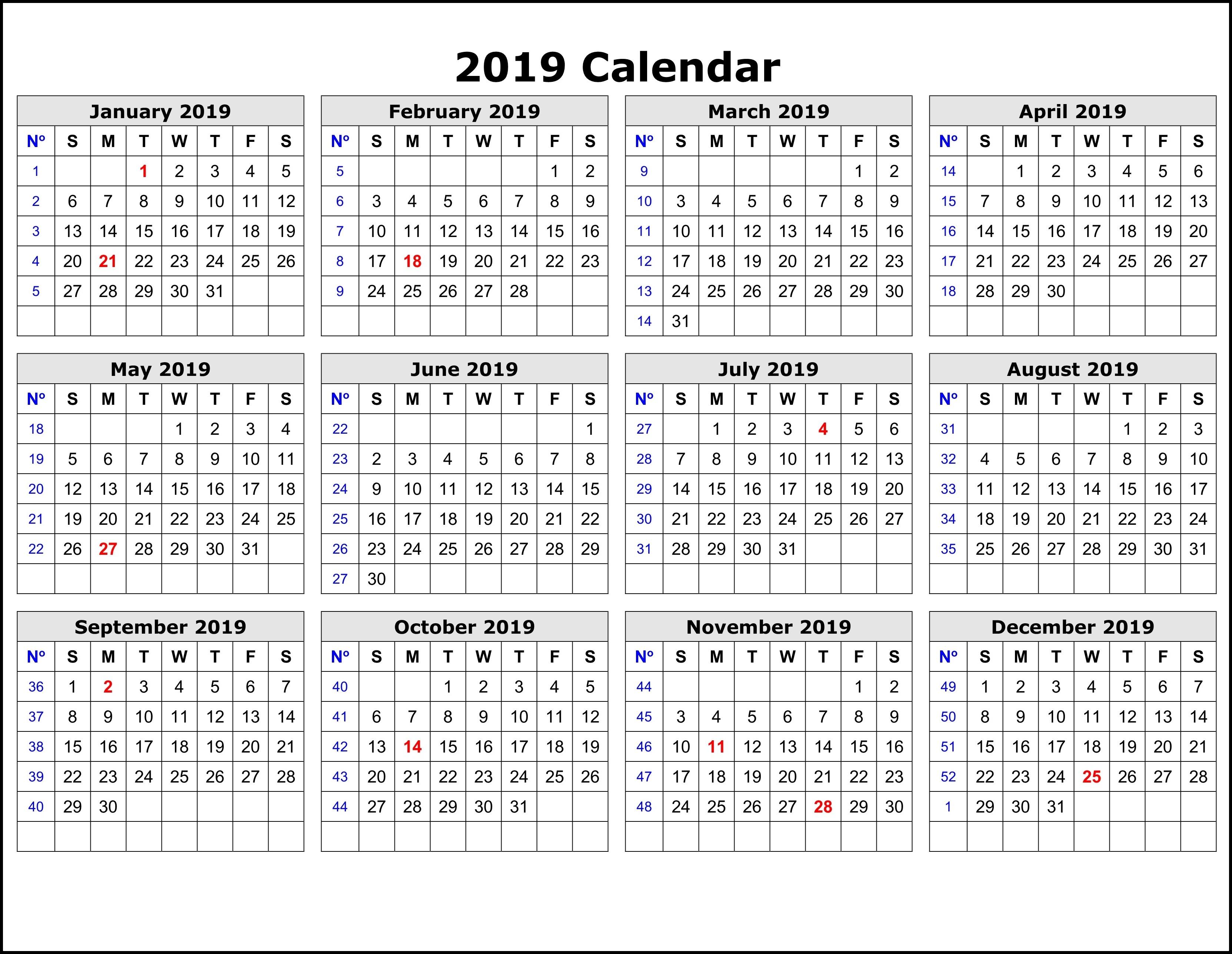 2019 Calendar Template By Week