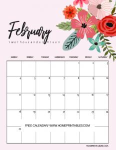 2019 February Calendar Floral