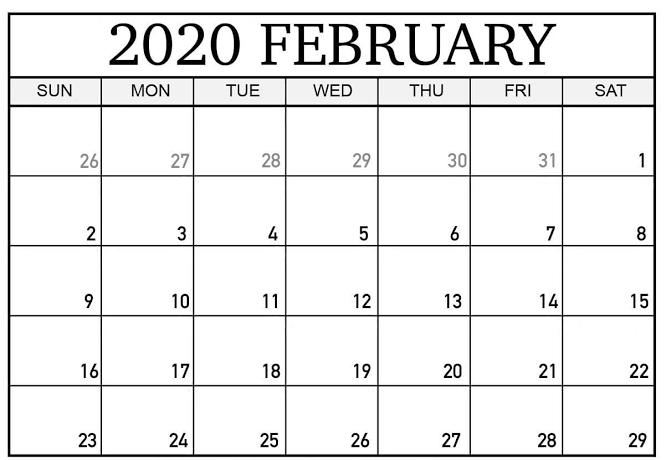 2020 February Calendar