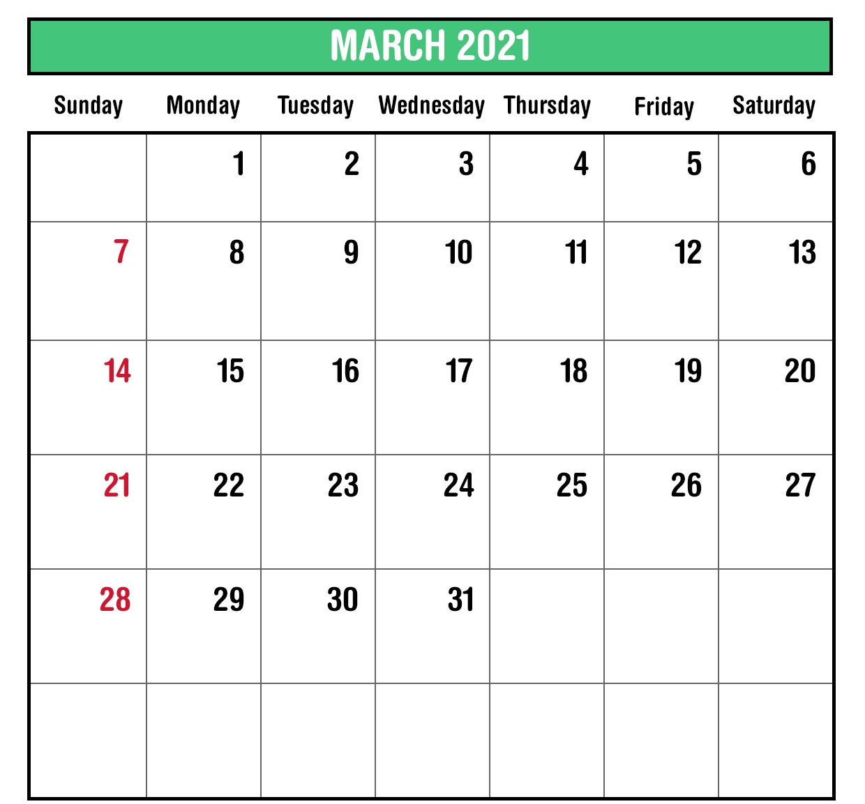 2021 March Monthly Calendar