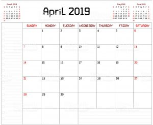 April 2019 Desk Calendar