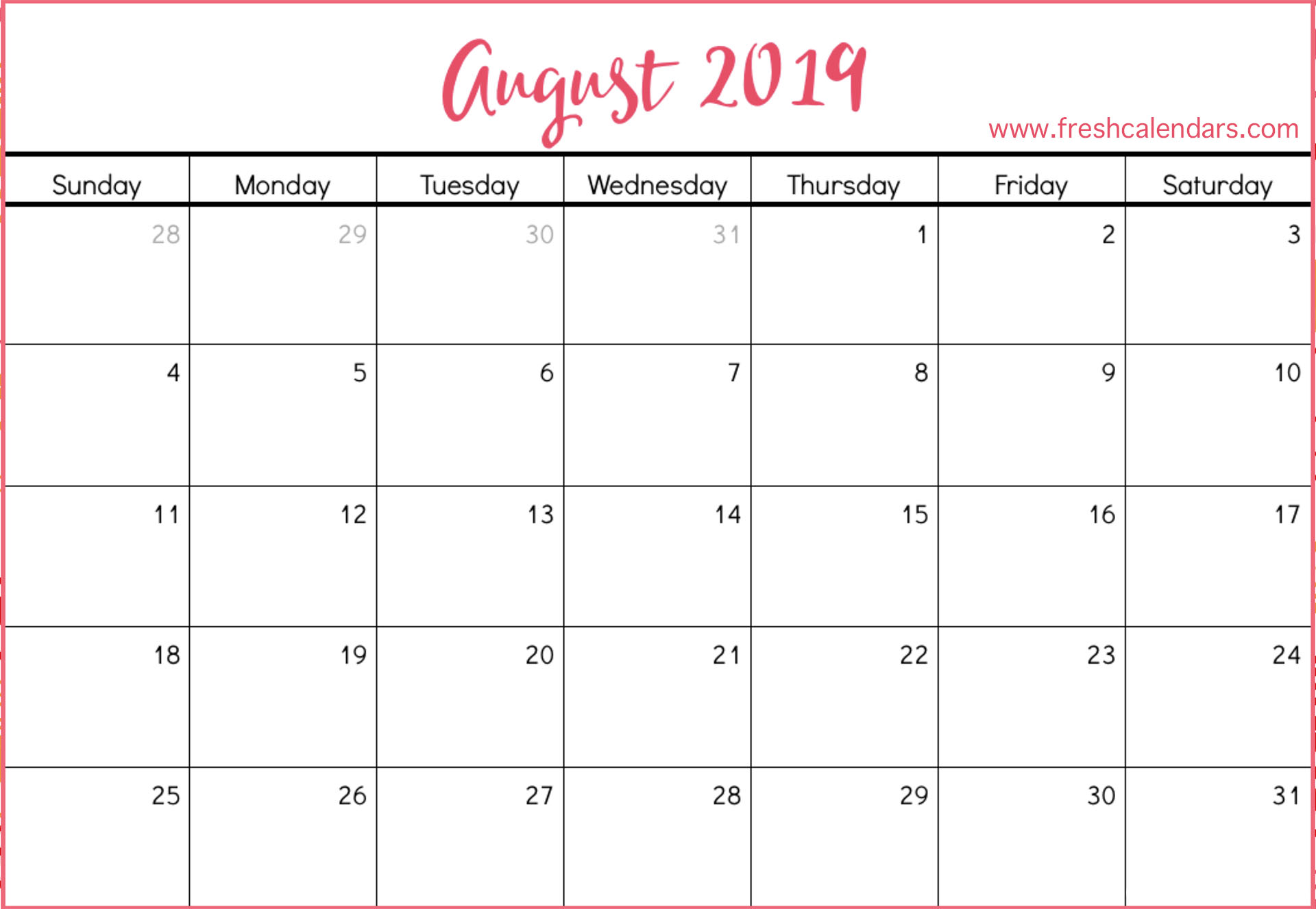 August 2019 Calendar With Holidays.August 2019 Calendar Excel Free Printable Calendar Templates Blank