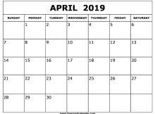 Blank April 2019 Calendar Templates