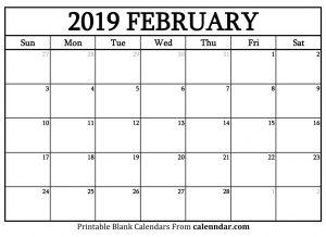 Blank February 2019 Calendar Landscape