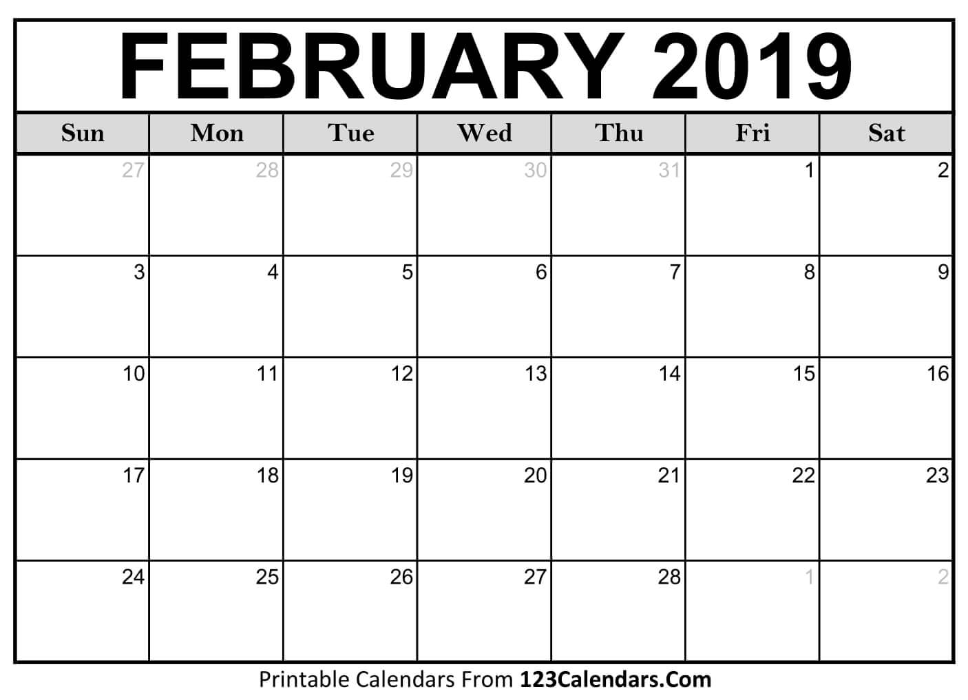 Printable February 2019 Calendar Template Free Download
