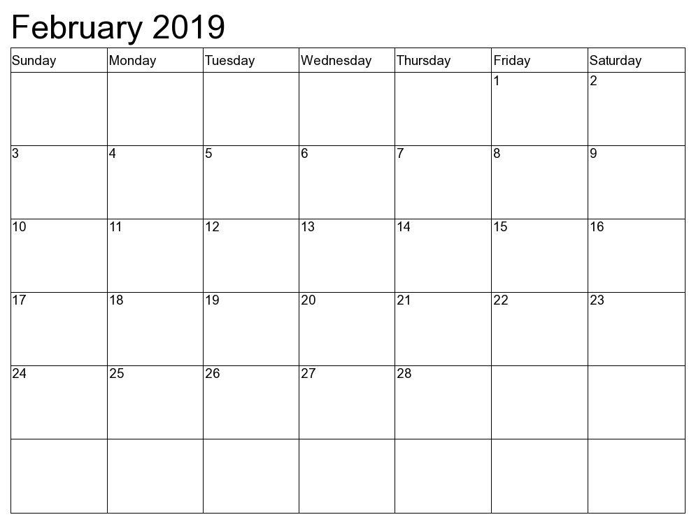 Blank February 2019 Calendar Template