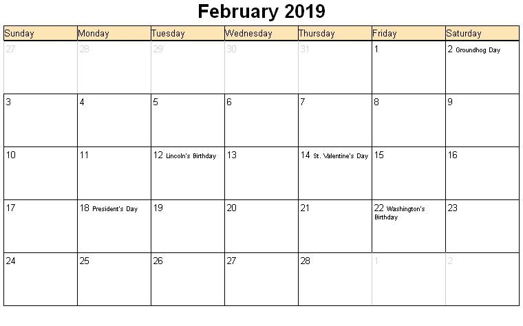 picture relating to Printable Calendar With Holidays called Blank February 2019 Calendar With Holiday seasons - Totally free Printable