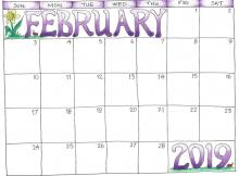 Blank February 2019 Calendar for Kids