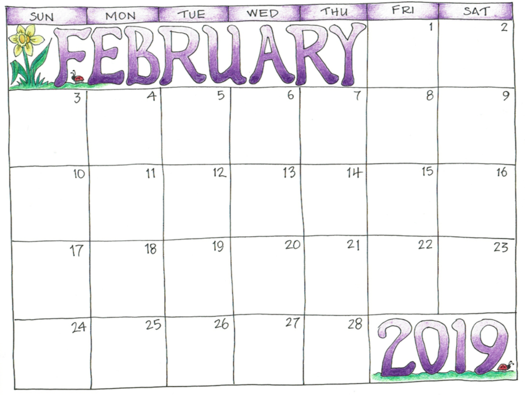 photo regarding Calendar February Printable called Blank February 2019 Calendar Printable Templates