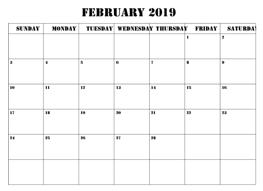 Blank February 2019 Wall Calendar