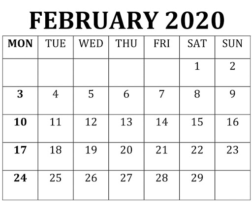 Blank February 2020 Calendar Landscape