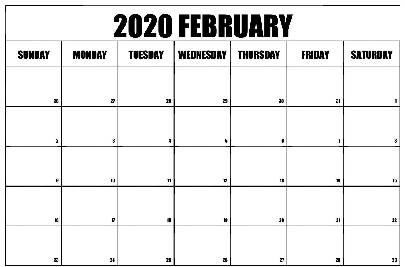 Blank February 2020 Calendar Word