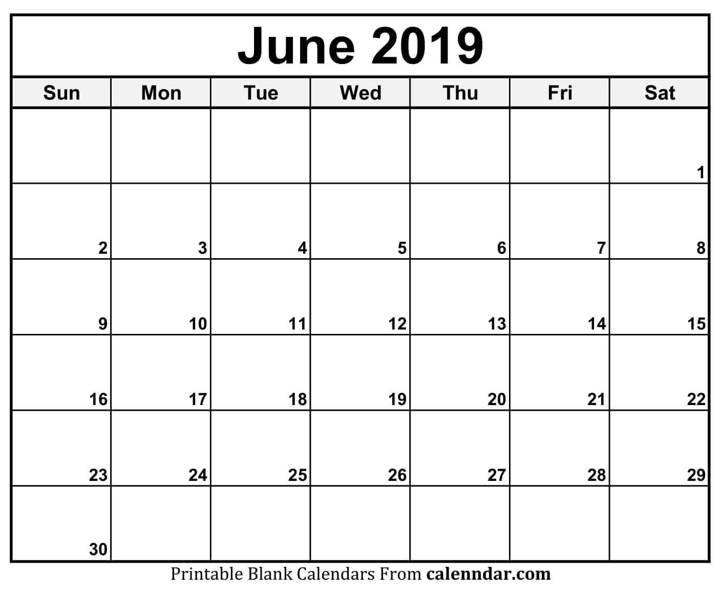 free printable june 2019 calendar pdf