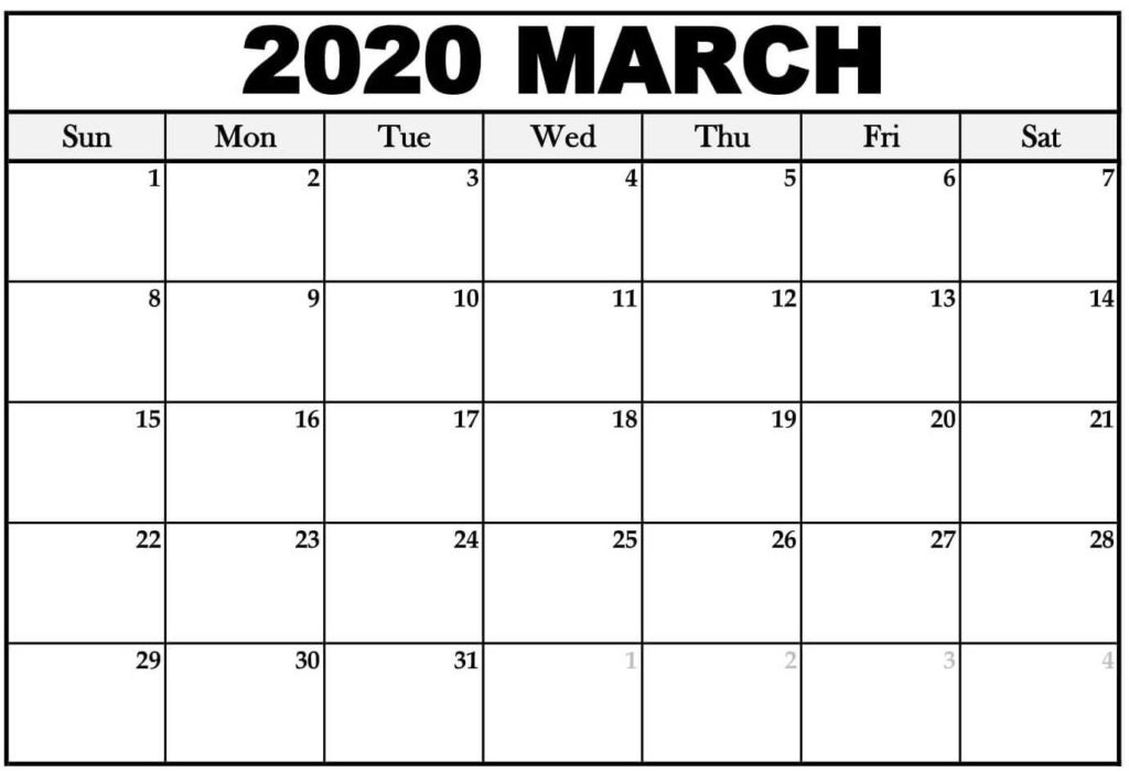 Blank March 2020 Calendar Printable