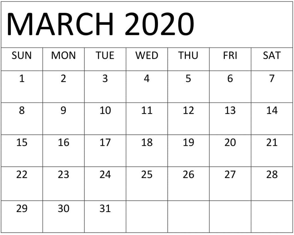 Blank March 2020 Calendar Word